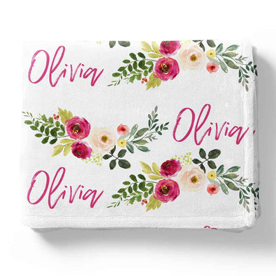franny farmhouse floral personalized blanket