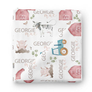 Frankie's Farm Party Personalized Baby Name Swaddle Blanket
