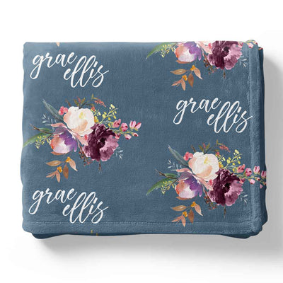 Grae's Dusty Blue Personalized Toddler Blanket