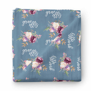 Grae's Dusty Blue Floral Personalized Baby Name Swaddle Blanket