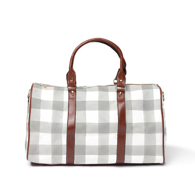 Gray and White Gingham Buffalo Check Travel Bags