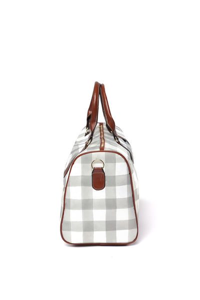 gray and white gingham buffalo check hospital bag