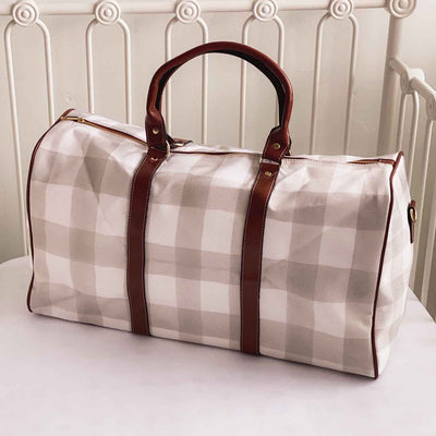 gray gingham hospital bag