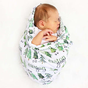 Woodland Trees Personalized Baby Name Swaddle Blanket