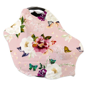 blush floral and butterfly stretchy car seat cover