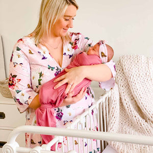 harper butterfly blush pink robe for hospital