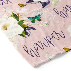 Harper's Butterfly Garden Personalized Toddler Blanket