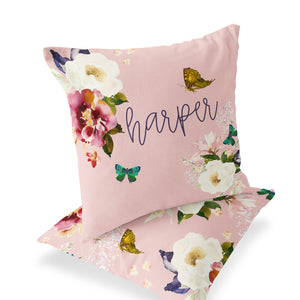 Harper's Butterfly Garden Custom Name Throw Pillow