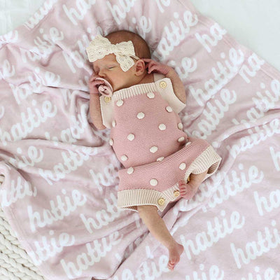 softest blush pink baby blanket with name on it