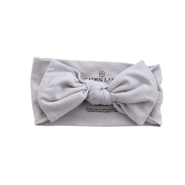 Solid Light Gray Knit Large Bow Headwrap