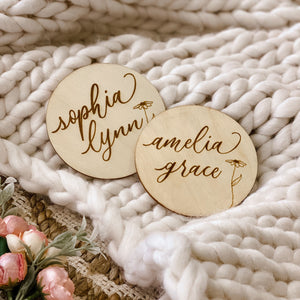 Personalized Baby Name Wood Announcement | Flower