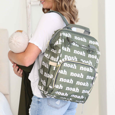 green personalized diaper bag backpack