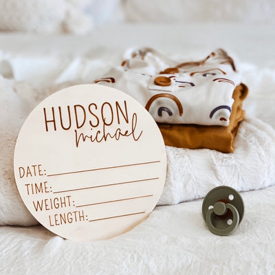 Personalized Birth Stats Wood Announcement | Block
