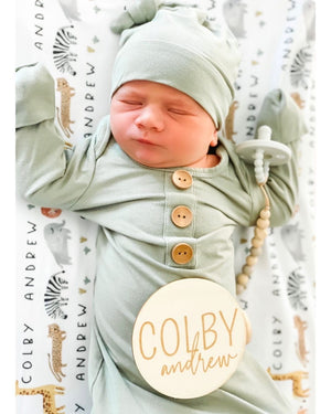 Solid Moss Bamboo Baby Knot Gown & Hat