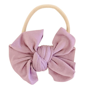 Solid Dusty Purple Knit Bow Headband