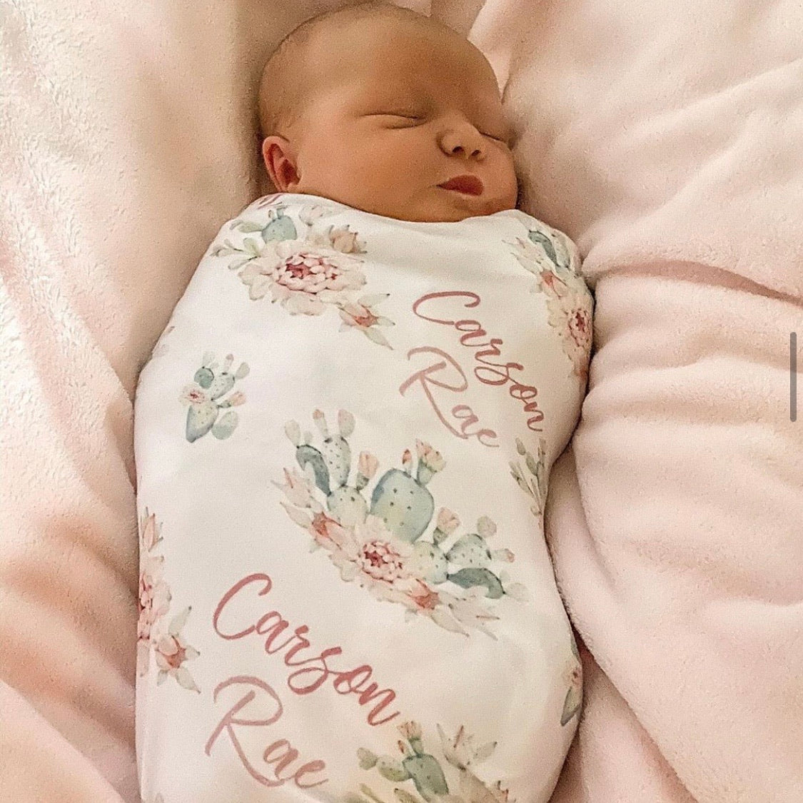 Blanket to grow with Girl Baby Name Blanket- Cactus Personalized Baby Blanket New Mom Baby Shower Gift