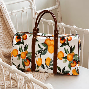 orange print hospital overnight bag