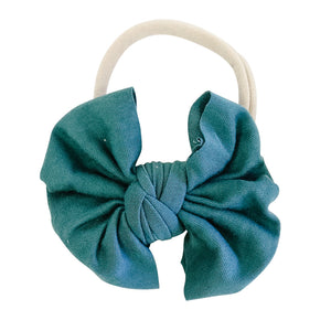 Solid Emerald Knit Bow Headband