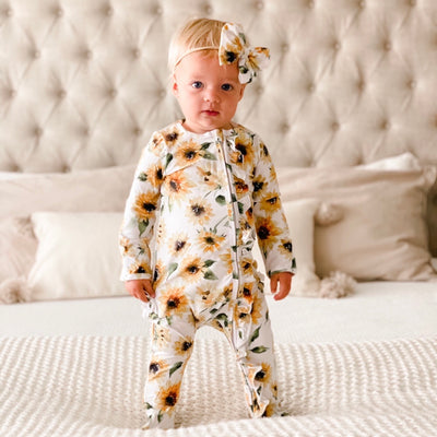 sunflower one piece baby outfit