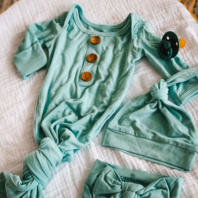 Solid Capri Blue Bamboo Newborn Baby Knot Gown & Hat Set