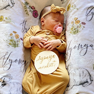 Solid Mustard Bamboo Baby Knot Gown & Hat