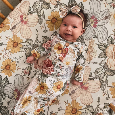 Peyton's Vintage Floral Newborn Baby Knot Gown & Hat