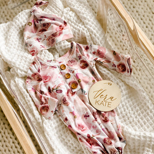 mauve rose floral knotted gown newborn