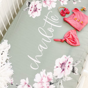 Saylor's Sage & Blush Floral Personalized Crib Sheet