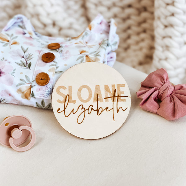 Personalized Baby Name Wood Announcement | Two Tone