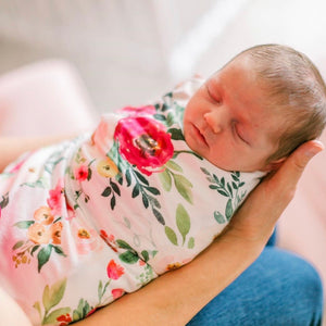 franny's farmhouse floral newborn stretchy soft swaddle
