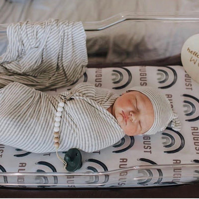 Brooks' Blue Earthy Rainbow Personalized Swaddle Blanket
