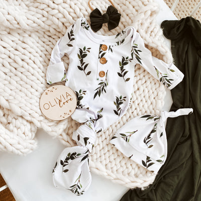 Olive Leaf Newborn Baby Knot Gown & Hat Set
