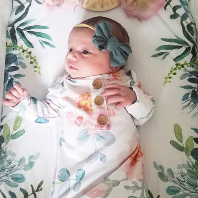 Ella's Dusty Rose Newborn Baby Knot Gown & Hat