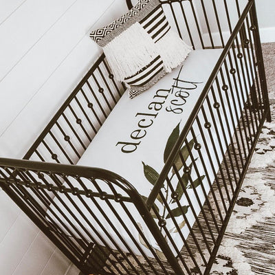 Olive Leaf Personalized Crib Sheet