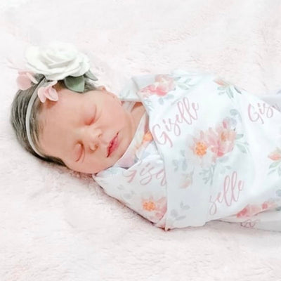 Ella's Dusty Rose Personalized Baby Name Swaddle Blanket