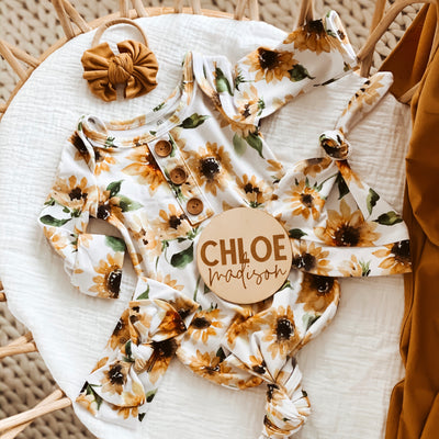 Savannah's Sunflowers Newborn Baby Knot Gown & Hat Set
