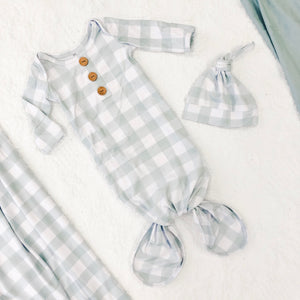moss gingham knot gown w hat set