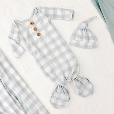 Moss Gingham Newborn Baby Knot Gown & Hat Set