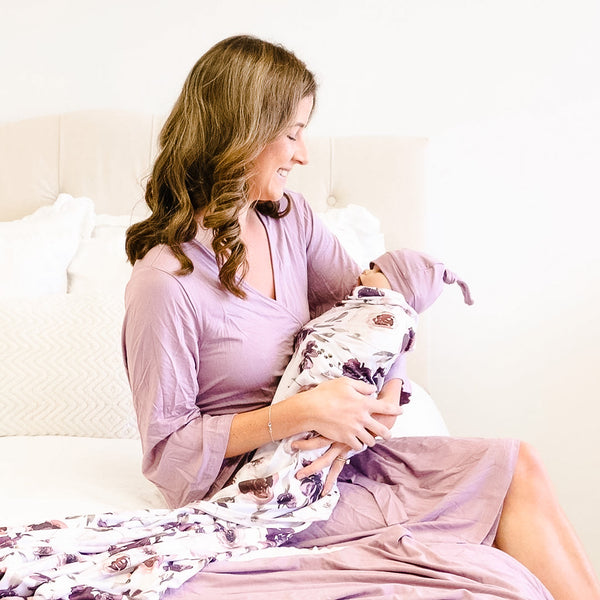 Dusty Purple Bamboo Knit Maternity Robe
