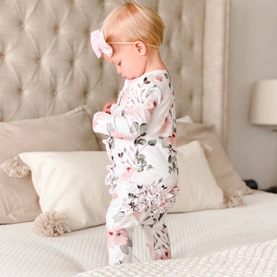 blush floral ruffle butt footie