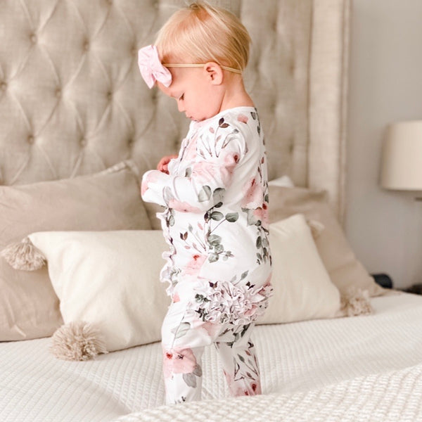 millie blush floral ruffle footie