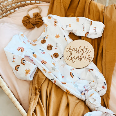 Boho Dreams Newborn Baby Knot Gown & Hat Set