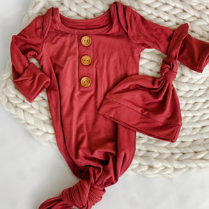 Solid Pomegranate Newborn Baby Knot Gown & Hat Set: