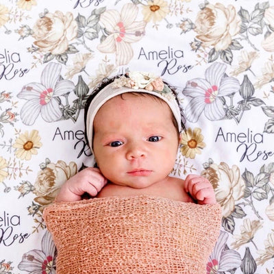 Peyton's Vintage Floral Personalized Baby Name Swaddle Blanket