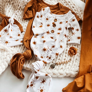 sun print gender neutral newborn outfit