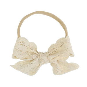 Ivory Lace Bow Headband for newborn