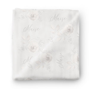 Ivy's Vintage Floral Personalized Baby Name Swaddle Blanket