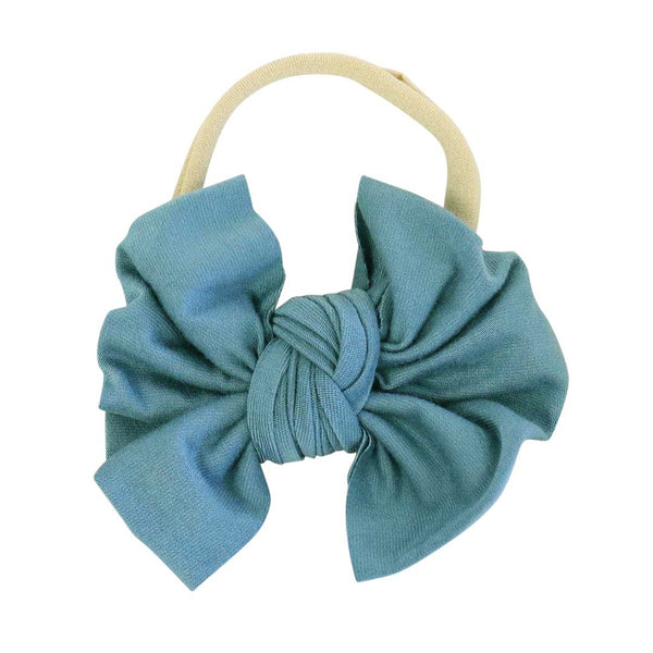 Solid Jade Knit Bow Headband