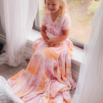 tie die kids personalized blanket
