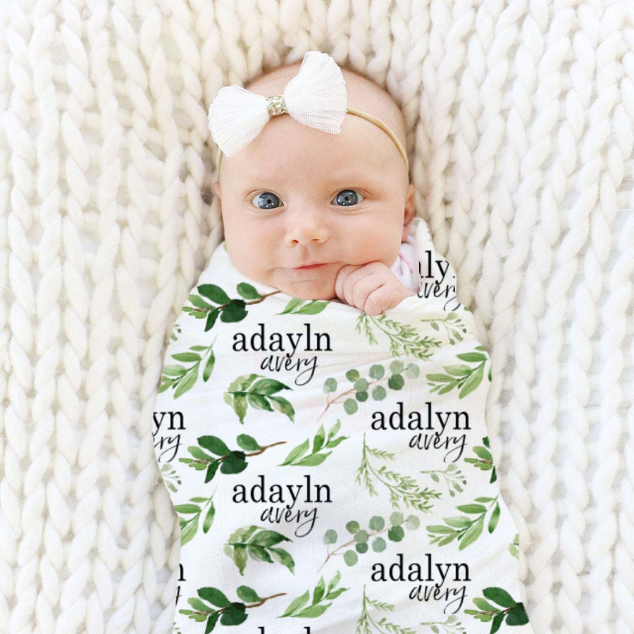 Leafy Greenery Personalized Baby Name Swaddle Blanket